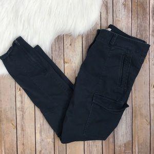LOFT Navy Cargo Skinny Pants Ankle Zip